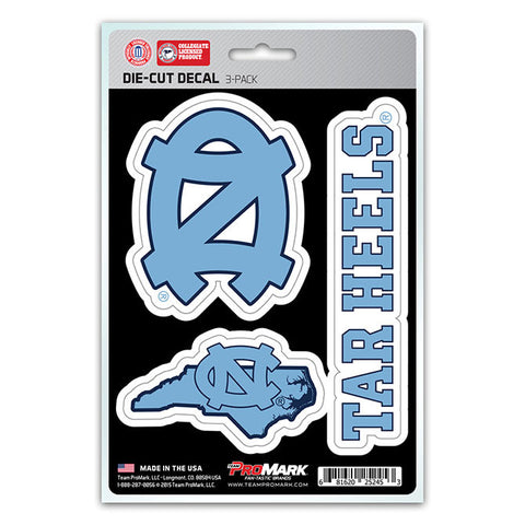 North Carolina Tar Heels Set of 3 Die Cut Decal Stickers State Outline Free Shipping!
