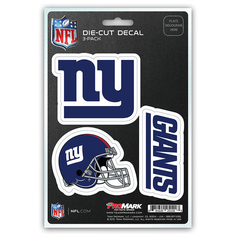 New York Giants Set of 3 Die Cut Decal Stickers Helmet Decal Free Shipping