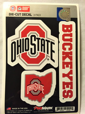 Ohio State Buckeyes Set of 3 Die Cut Decal Stickers State Outline Free Shipping
