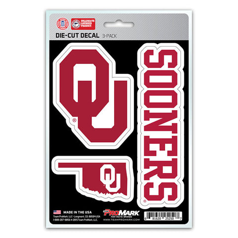 Oklahoma Sooners Set of 3 Die Cut Decal Stickers State Outline Free Shipping