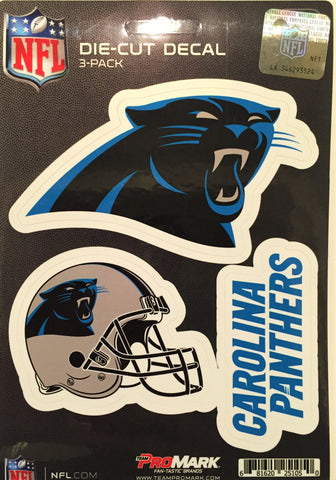 Carolina Panthers Set of 3 Die Cut Decal Stickers Helmet Decal Free Shipping