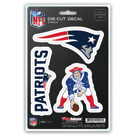 New England Patriots Set of 3 Die Cut Decal Stickers Retro Logo Free Shipping