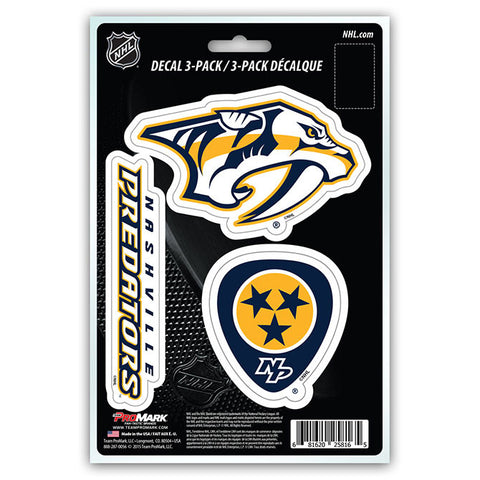 Nashville Predators Set of 3 Die Cut Decal Stickers NEW Free Shipping!