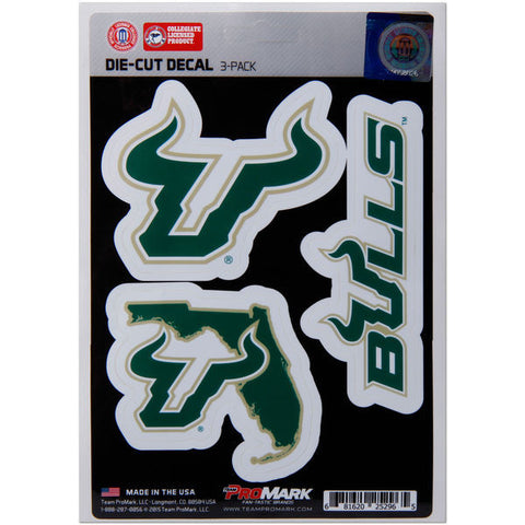 South Florida Bulls Set of 3 Die Cut Decal Stickers State Outline Free Shipping!