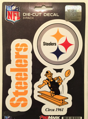 Pittsburgh Steelers Set of 3 Die Cut Decal Stickers Retro Logo Free Shipping