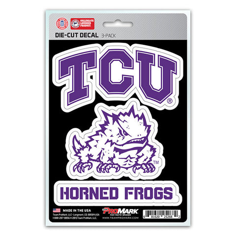TCU Horned Frogs Set of 3 Die Cut Decal Stickers Frog Logo Free Shipping