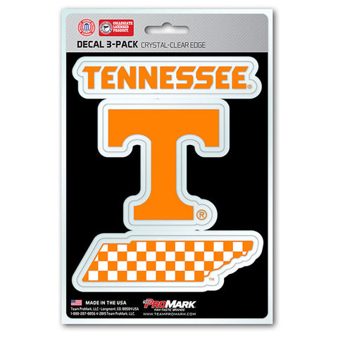 Tennessee Volunteers Set of 3 Die Cut Decal Stickers State Outline Free Shipping!