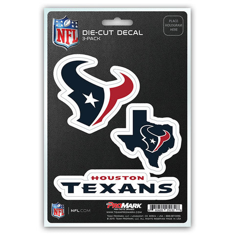 Houston Texans Set of 3 Die Cut Decal Stickers State Outline Free Shipping