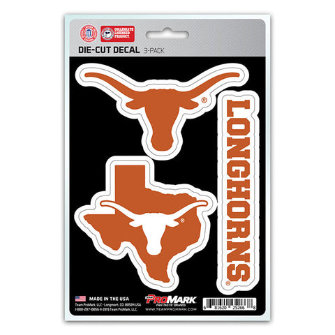 Texas Longhorns Set of 3 Die Cut Decal Stickers State Outline Free Shipping!