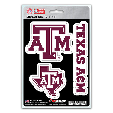 Texas A&M Aggies Set of 3 Die Cut Decal Stickers State Outline Free Shipping!