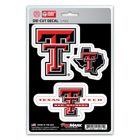 Texas Tech Red Raiders Set of 3 Die Cut Decal Stickers State Outline Free Shipping