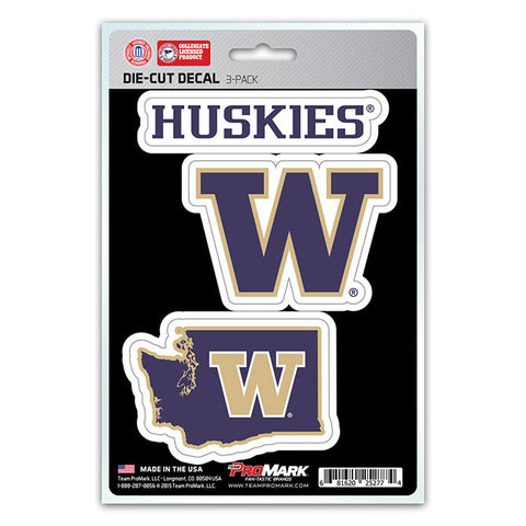 Washington Huskies Set of 3 Die Cut Decal Stickers State Outline Free Shipping!