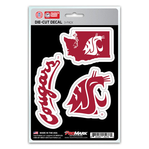 Washington State Cougars Set of 3 Die Cut Decal Stickers State Outline Free Shipping!