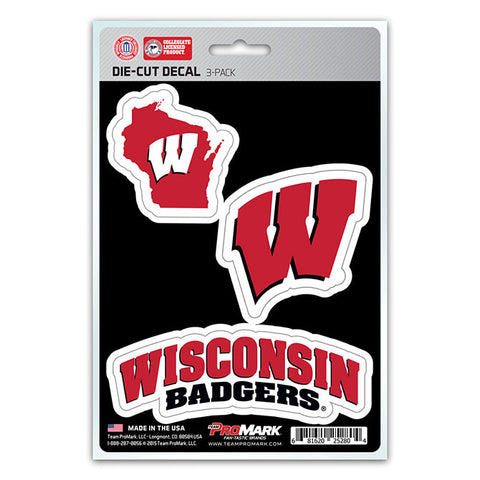 Wisconsin Badgers Set of 3 Die Cut Decal Stickers State Outline Free Shipping