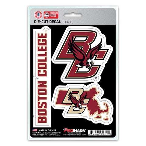 Boston College Eagles Set of 3 Die Cut Decal Stickers State Outline Free Shipping