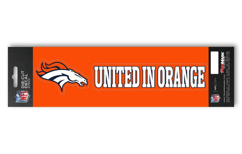 "Denver Broncos Set of 2 Die Cut Slogan Decal Stickers ""United in Orange"""