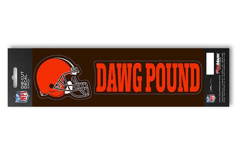 "Cleveland Browns Set of 2 Die Cut Slogan Decal Stickers ""Dawg Pound"""