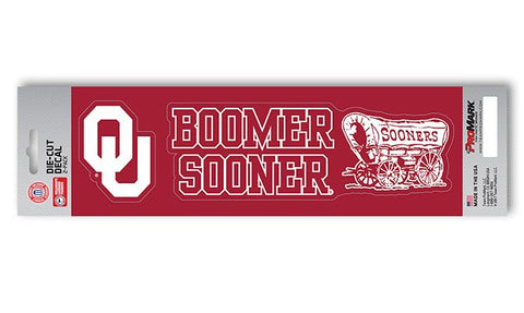 "Oklahoma Sooners Slogan and Logo Die Cut Decal Stickers ""Boomer Sooner"""