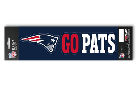"New England Patriots Set of 2 Die Cut Slogan Decal Stickers ""Go Pats"""