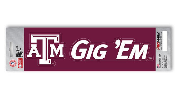 Texas A&M Aggies Slogan and Logo Die Cut Decal Stickers