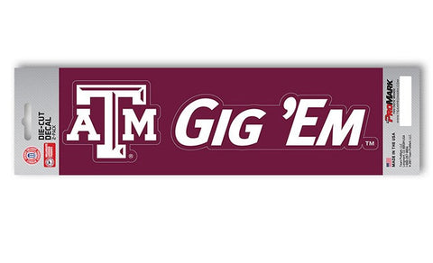 "Texas A&M Aggies Slogan and Logo Die Cut Decal Stickers ""Gig 'Em"""