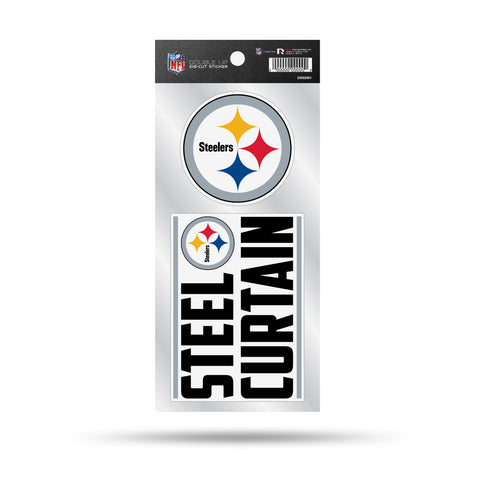 "Pittsburgh Steelers Die Cut Slogan and Logo Decal Stickers ""Steel Curtain"""