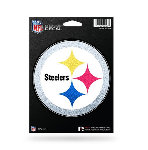 Pittsburgh Steelers *Bling* Die Cut Decal NEW 5 X 5 Window Car or Laptop! Glitter