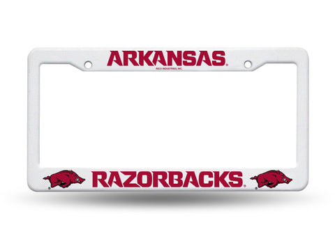 Arkansas Razorbacks White Plastic License Plate Frame NCAA NEW! Free Shipping