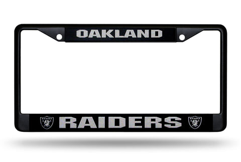 Oakland Raiders Black Chrome Metal License Plate Cover Frame NEW!!