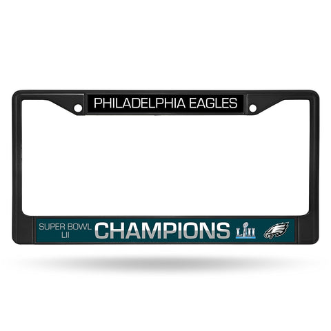 Philadelphia Eagles Super Bowl 52 Champions Black Chrome Metal License Plate Cover Frame NEW!!