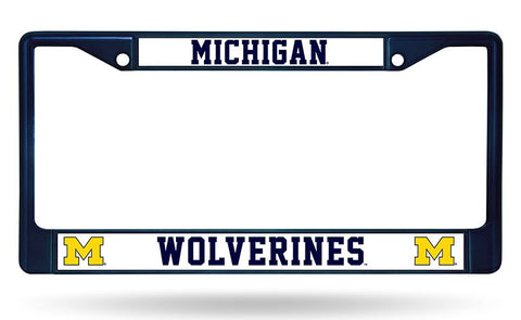 Michigan Wolverines Color Chrome Metal License Plate Frame NEW Free Shipping! Blue