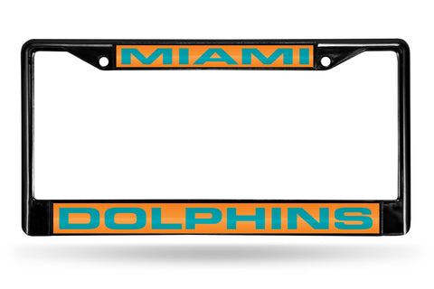 Miami Dolphins Black Laser Cut Metal License Plate Cover Frame NEW!!