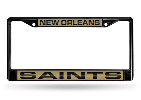 New Orleans Saints Black Laser Cut Metal License Plate Cover Frame NEW!!