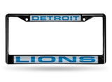 Detroit Lions Black Laser Cut Metal License Plate Cover Frame NEW!!