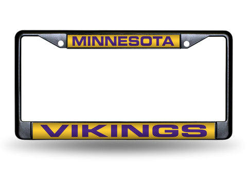 Minnesota Vikings Black Laser Cut Metal License Plate Cover Frame NEW!!