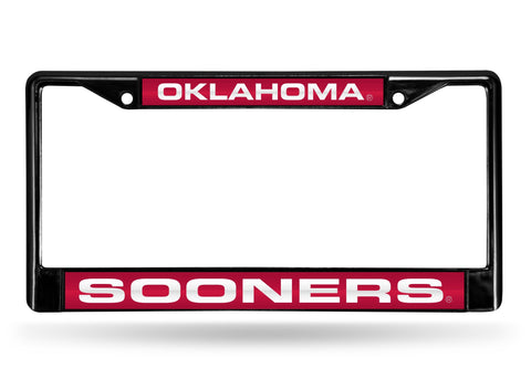 Oklahoma Sooners Black Laser Cut Metal License Plate Cover Frame NEW!!