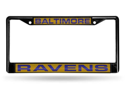 Baltimore Ravens Black Laser Cut Metal License Plate Cover Frame NEW!!