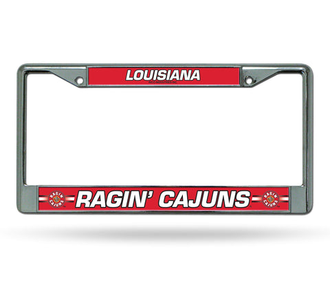 Louisiana Ragin Cajuns Silver Chrome Metal License Plate Frame NEW Free Shipping!