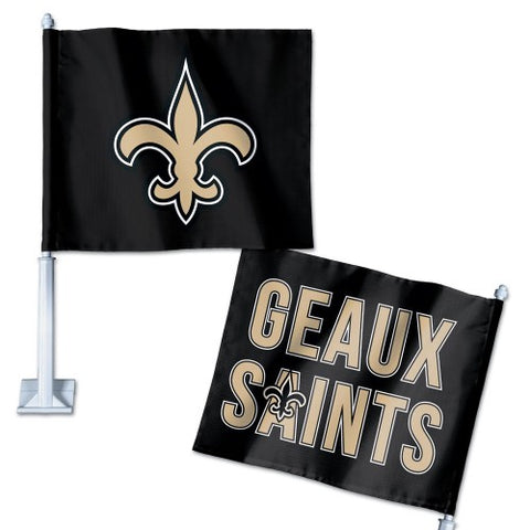 "New Orleans Saints ""Geaux Saints"" Car Flag NEW! NFL Free Shipping! White Pole"