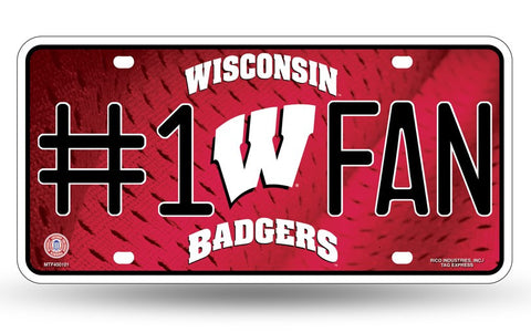 Wisconsin Badgers #1 Fan Aluminum License Plate NEW!!