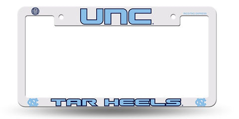 North Carolina Tar Heels White Plastic License Plate Frame NCAA NEW! Free Shipping