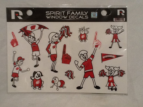 Wisconsin Badgers Spirit Family Window Decals 8 X 5.5 NEW!! Car Window NCAA