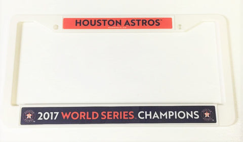 Houston Astros World Series Champions White Plastic License Plate Frame NEW!
