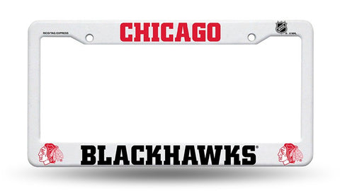 Chicago Blackhawks White Plastic License Plate Frame NEW Free Shipping!