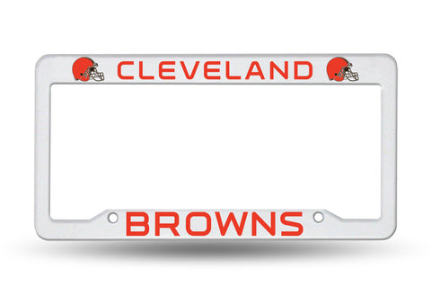Cleveland Browns White Plastic License Plate Frame NEW Free Shipping!