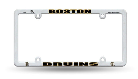 Boston Bruins White Plastic License Plate Frame NEW Free Shipping!