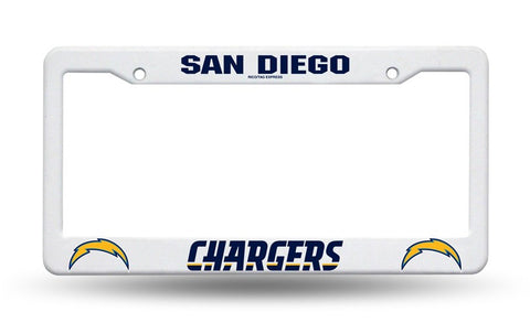 San Diego Chargers White Plastic License Plate Frame NEW NFL