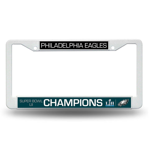 Philadelphia Eagles Super Bowl 52 Champions White Plastic License Plate Frame NEW!