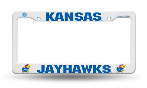 Kansas Jayhawks White Plastic License Plate Frame NEW Free Shipping!