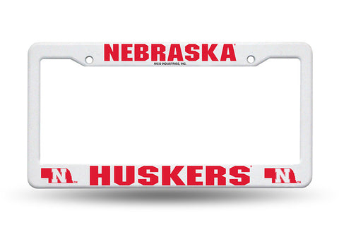 Nebraska Huskers White Plastic License Plate Frame NEW Free Shipping!
